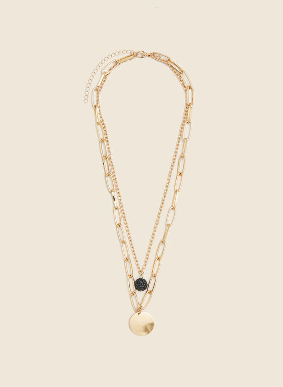 Double Chain Pendant Necklace, Black