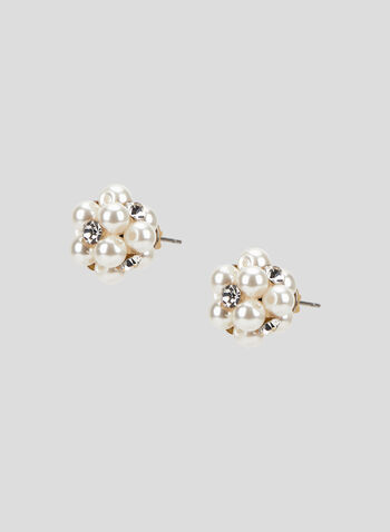 Pearl Cluster Stud Earrings, Off White, hi-res