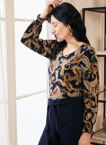 3/4 Sleeve Paisley Print Top, Blue,  top, balloon sleeves, paisley, smocked, jersey, rounded v-neck, spring summer 2020