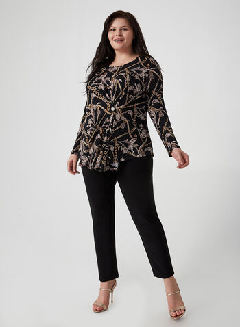 Joseph Ribkoff – Pearl Detail Top, Black, hi-res,  scroll print blouse