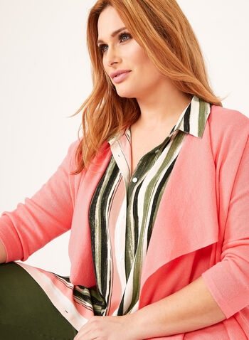 Cascading Collar Knit Cardigan, Orange, hi-res
