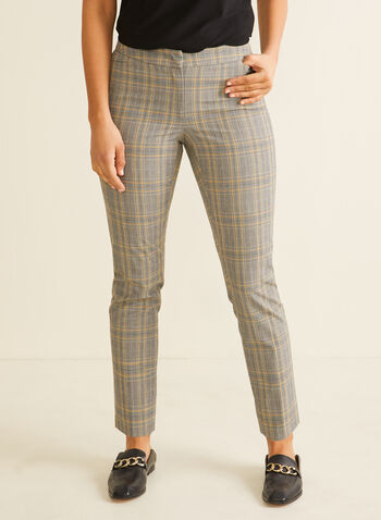 Modern Fit Plaid Print Pants, Black,  pants, modern fit, straight leg pants, plaid print, tartan print, print pants, spring 2020, summer 2020
