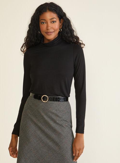 Pleated Mock Neck Sweater, Black