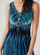 Mosaic Print Maxi Dress, Blue, hi-res