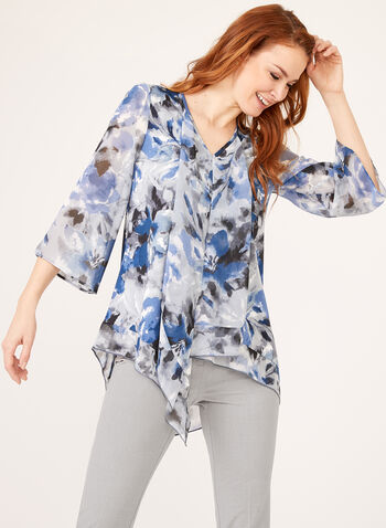 Asymmetric Abstract Floral Print Tunic, Blue, hi-res