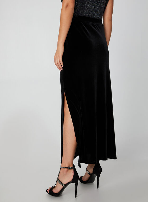 Long Velour Maxi Skirt, Black