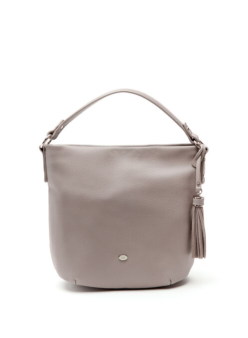 Tassel Detail Hobo Bag, Grey, hi-res
