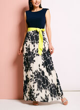 Floral Print Pleated Boat Neck Dress, Blue, hi-res
