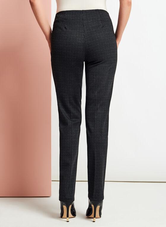 Pantalon coupe cité à jambe droite et carreaux, Noir, hi-res