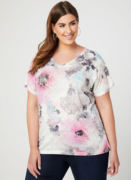T-shirt à motif floral avec cristaux, Multi