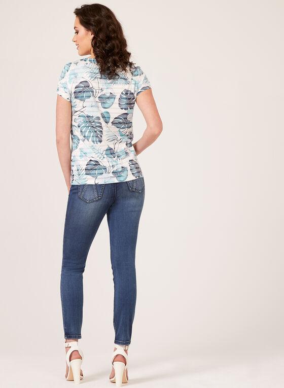 Floral Leaf Print T-Shirt, Blue, hi-res