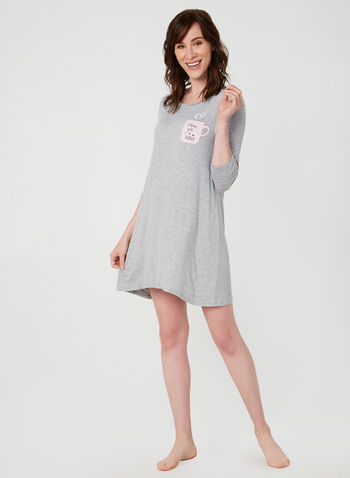 Pillow Talk - ¾ Sleeve Nightgown, Grey,  nightgown, nightshirt, 3/4 sleeves, fall 2019, winter 2019