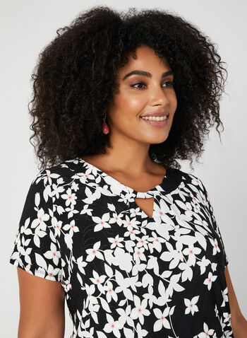Floral Print Short Sleeve Top, Black, hi-res