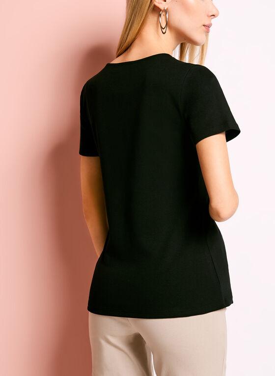 T-shirt à manches courtes à rivets col fendu, Noir, hi-res