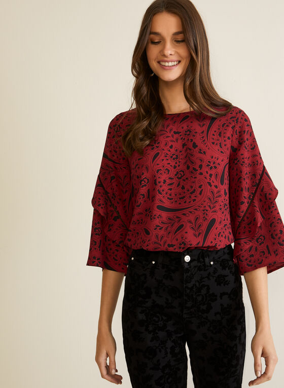 Printed Ruffle Sleeve Blouse, Red