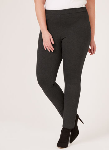 Ponte de Roma Slim Leg Pull-On Pants, Grey, hi-res