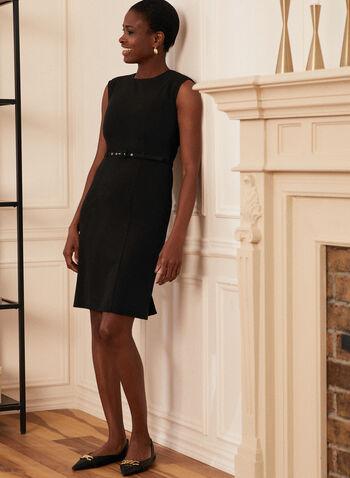 Louben - Robe sans manches ceinturée , Noir,  louben, fait au canada, robe, sans manches, ceinture, coupe droite, col arrondi, printemps été 2021