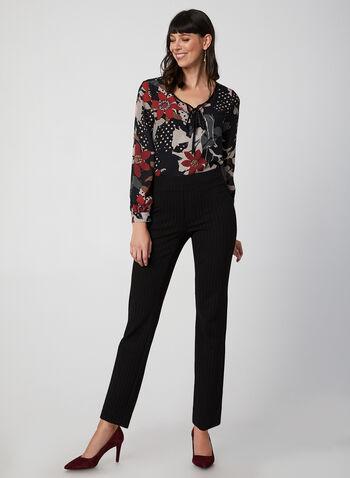City Fit Stripe Print Pants, Black, hi-res,  pants, Ponte de Roma, mid rise, slim leg, slim thighs, stripe print, pull on, straight hips, contour waist, fall 2019, winter 2019