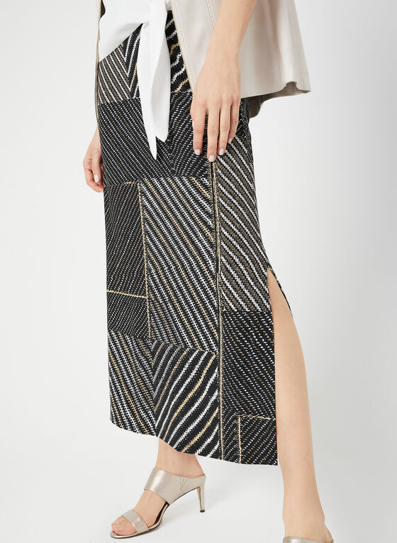 Patchwork Print Maxi Skirt, Black