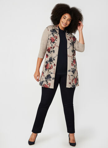 Floral Print Open Front Top, Brown,  canada, 3/4 sleeves, floral print, knit, sweater, open front, cardigan, stretch, long, fall 2019, winter 2019