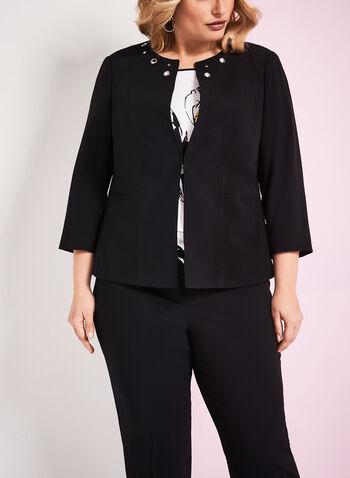 3/4 Sleeve Grommet Blazer , Black, hi-res