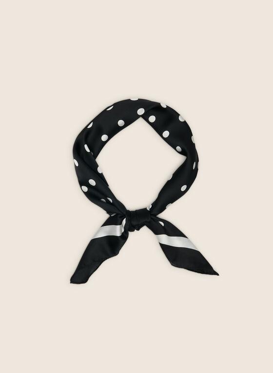 Foulard carré motif pois, Noir