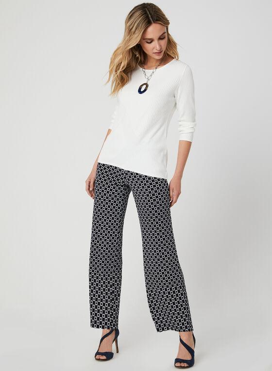 Pantalon coupe moderne à motif géométrique, Bleu