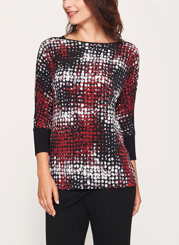 Abstract Print Dolman Sleeve Top, Brown, hi-res