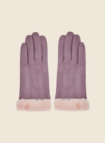 Gants en faux suède, Violet,  automne hiver 2020, gants, faux suède, accessoire, fausse fourrure, accessoire d'hiver