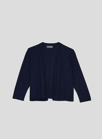 Open Front Knit Bolero, Blue, hi-res,