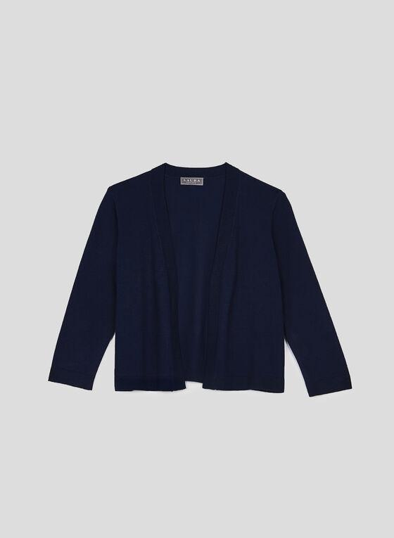 Open Front Knit Bolero, Blue, hi-res