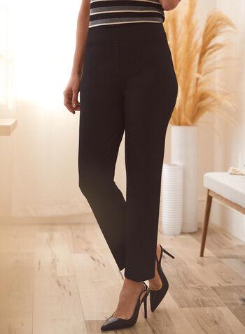 Pantalon coupe moderne à jambe droite, Noir,  pantalon, bas, jambe droite, coupe moderne, pinces, extensible, ceinture, élastique, pull-on, à enfiler, automne 2021