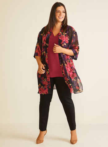Floral Print Open Front Tunic, Black,  tunic, open front, floral, kimono, chiffon, fall winter 2020