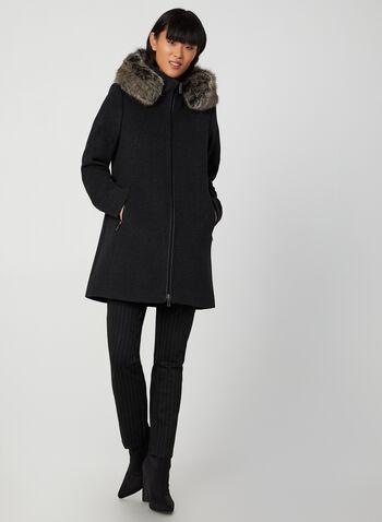 Portrait - Manteau en laine et fausse fourrure, Gris, hi-res,  manteau, laine, capuchon, fausse fourrure, zip, poches, automne hiver 2019