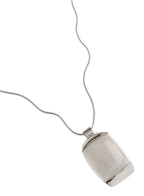 Collier avec pendentif pierre marbrée, Blanc, hi-res