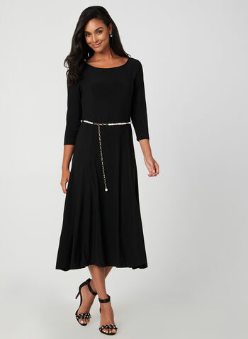Belted Jersey Dress, Black, hi-res,  fall winter 2019, jersey, fit & flare, long sleeves