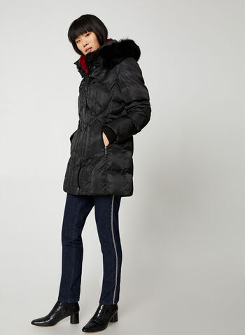 Northside - Matte Faux Fur Coat, Black,  coat, winter coat, faux fur, faux fur coat, hooded coat, zippered coat, fall 2019, winter 2019