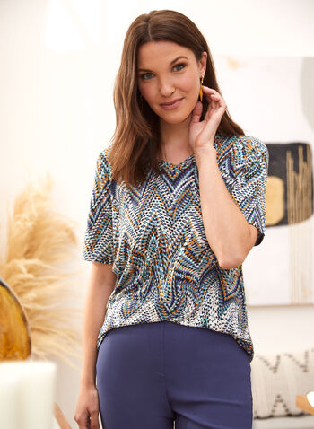 Geometric Wave Print Tee, Multi,  spring summer 2021, made in canada, tee, v neck, short sleeves, geometric, design, pattern, motif, wave, abstract, art, rounded hem
