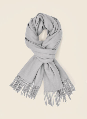 Herringbone Pattern Scarf, Grey,  scarf, winter, herringbone, fringe, fall winter 2020