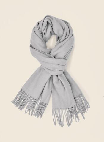 Foulard à motif chevron , Gris,  foulard, écharpe, hiver, chevron, automne hiver 2020
