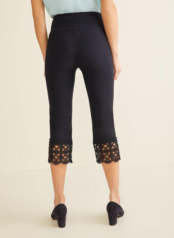 Crochet Detail Capri Pants, Blue