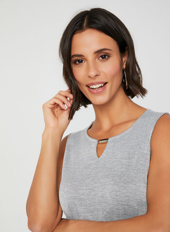 Sleeveless Scoop Neck Top, Grey, hi-res,  sleeveless, metallic detail, scoop neck, stretchy, fall 2019, winter 2019