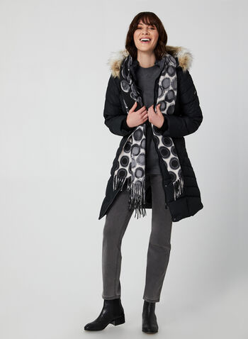 Novelti - Quilted Coat, Black,  coat, vegan lining, faux fur trim, zipper pockets, long sleeves, Glow technology, fall 2019, winter 2019