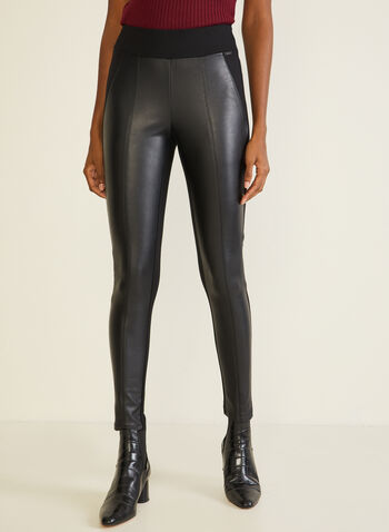 Vegan Leather Leggings, Black,  leggings, vegan leather, ponte di roma, pull-on, slim leg, fall winter 2020