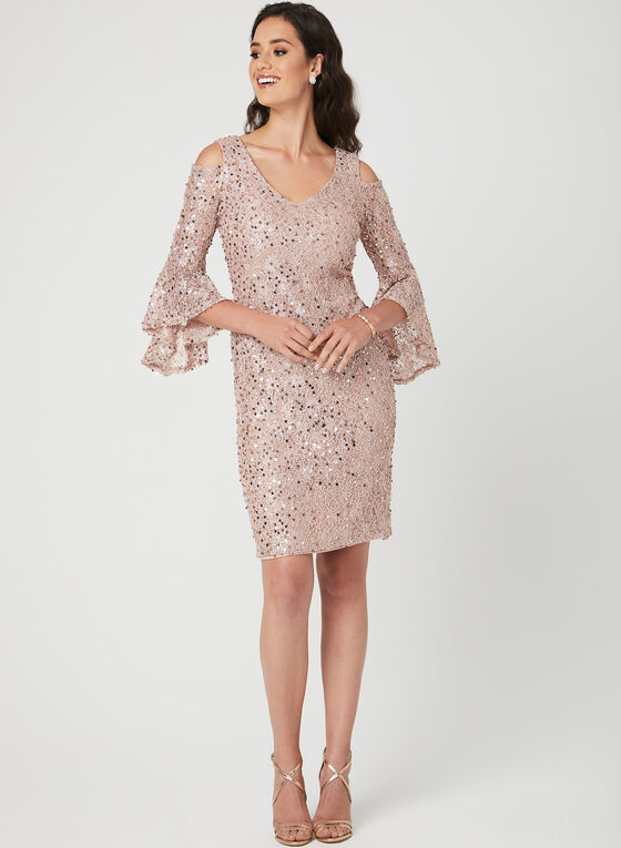 Sequin Lace Angel Sleeve Dress, Pink, hi-res