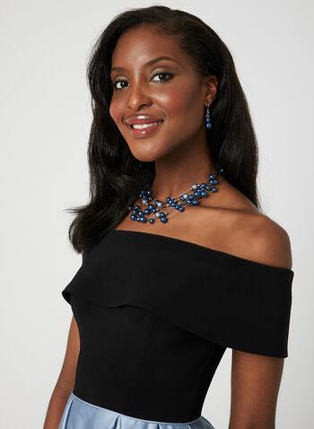 Off-the-Shoulder Satin Dress, Black, hi-res,  tulle, spring 2019, short prom dress