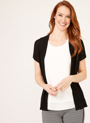 Short Sleeve Pointelle Knit Cardigan, Black, hi-res