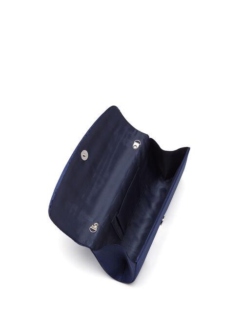 Pleated Satin Foldover Clutch, Blue, hi-res