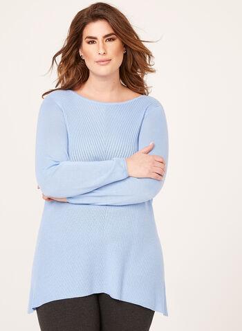 Pull tunique en tricot, Bleu, hi-res