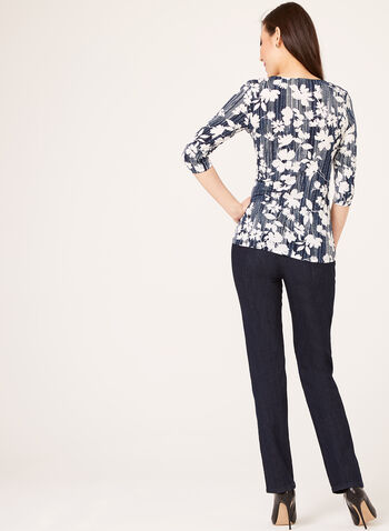 Abstract Floral Print Draped Top, Blue, hi-res